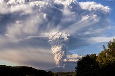 Wulkan, Erupcja, Dym, Drzewa