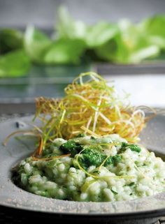 risotto alla crema di lattuga e porri / risotto with cream of lettuce and leeks