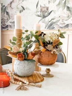 Wheat Centerpieces, Pumpkin Centerpieces, Pumpkin Flower, Baby In Pumpkin, Pumpkin Planter, Jack O Lantern Faces, Fall Floral Arrangements, Fall Halloween, Halloween Projects