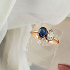 """Sold for $949,000, the historical, sentimental engagement ring given by General Bonaparte to Josephine de Beauharnais is set to be auctioned on 24 March 2013 in Paris. The gold ring is set with a diamond and sapphire, cut in a pear shape and set in a """"you and me"""" style.   Toi et moi rings: the most romantic ring style in history 
