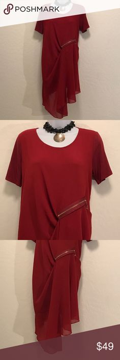 ⬇️Price Drop⬇️Gorgeous Burgundy Flowy Dress Never Worn, This is so beautiful, the pic may of be completely showing it. Loose Fit, Side Zipper, Cap Sleeve, Knee-length, Lined, Accessories not included, Dresses