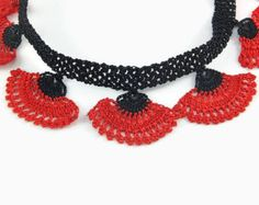 Crochet Necklace Black Flower Crochet Bead Necklace  Black