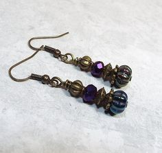Dangle Drop Earrings Metallic Purple Blue Green by SharkysWaters