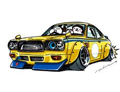 """crazy car art"" jdm japanese old school ""SAVANNA RX-3"" original characters ""mame mame rock"" / © ozizo Official web shop ""STAY CRAZY (in Society6)"" Official web shop ""ozizo(in Redbubble)"" ""Crazy Car Art"" Line stickers ""Crazy car Art"" Telegram stickers"