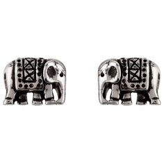 Accessorize Sterling Silver Patara Elephant Stud Earrings ($12) ❤ liked on…