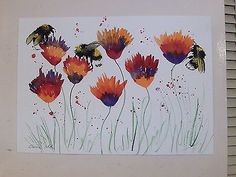Bumble bee & Flowers Original watercolour painting Size A3 Casimira Mostyn