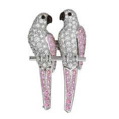 Cartier White and Pink Diamond Platinum Lovebirds Brooch