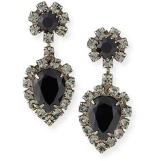 Dannijo Mirabella Jet Crystal Earrings ($315) ❤ liked on Polyvore featuring jewelry, earrings, jet black, womens jewellery, black jewelry, crystal earrings, dannijo and black jewellery