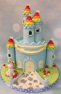 Rainbow Unicorn Castle Blue Toadstools