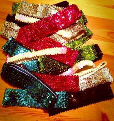 Sparkle Headbands - pink, black, blue, green, silver and iridescent white.
