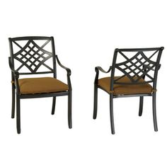 Set of 2 Whitley Place Burnished Black/Powder-Coated Cushioned Seat Aluminum Patio Dining Chairs