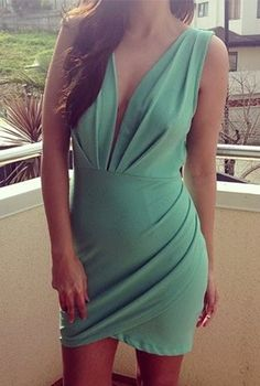 Mint Green Plunge Cutout Back Dress #partydress #homecoming