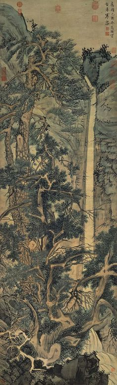 Wen Zhengming: Old Trees by a Cold Waterfall, Hanging scroll, ink and color on silk, 194.1 x 59.3 cm, National Palace Museum, Taipei