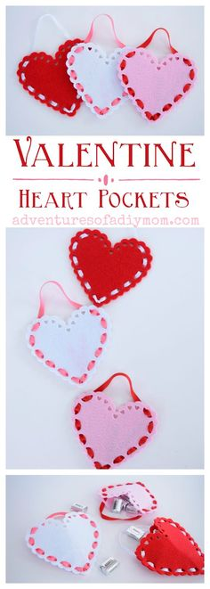 Valentine heart pockets made with felt and ribbon. An easy, inexpensive and adorable Valentines gift idea. #valentinesdaycrafts #valentinesgifts #adventuresofadiymom #diycrafts #fabriccrafts