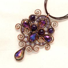 Amethyst Teardrop Copper Wire Wrapped Pendant by AnnaWireJewelry