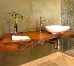 Floating vanity and Granite countertop contemporary bathroom: Floating Wood Counter asian bathroom
