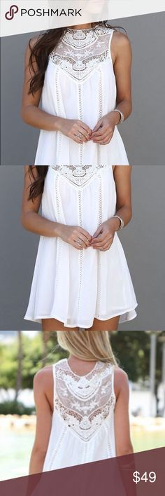 NEW! Never Worn! Flowing White Mini Dress or Top White Appliques Sleeveless With Lace Dress Season : Summer Pattern Type : Solid White with Cut Outs Sleeve Length : Sleeveless Color : White Dresses Length : Short Style : Casual or Dressy Material : Chiffon Neckline : Round Neck Silhouette : Tent Decoration : Cut Out Size Available : M Dresses Mini