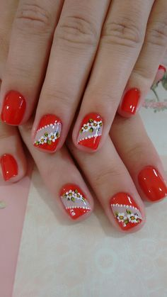 pretty manicure minus the stone & flower though. Red Nail Art, Cute Nail Art, Red Nails, Cute Nails, Pretty Nails, Hair And Nails, Flower Nail Designs, Flower Nail Art, Nail Art Designs