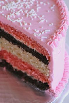 Neopolitan layer cake, so going to try this with strawberry swiss meringue buttercream - mmmmm
