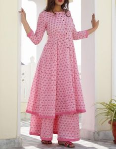 Indo Western Dresses - Readymade Pink Block Printed Cotton Kalidar and Pakistani Sharara SuitsBlack Indo Western Maxi Dress With Jacket Kurta Designs Women, Kurti Neck Designs, Dress Neck Designs, Salwar Designs, Dress Indian Style, Indian Dresses, Indian Outfits, Western Dresses, Indian Designer Outfits
