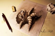 Amazing Pencil Drawings Pop Out of the Page : Syrian artist Muhammad Ejleh - My Modern Metropolis 3d Pencil Art, 3d Pencil Drawings, Cool Drawings, 3d Art, 3d Paper Art, Illusion Drawings, 3d Painting, Drawing Techniques, Cool Art