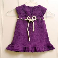 Agnes Baby Dress Knitted Pattern from Knitting Bee. This is a cute dress...I am hoping I can make this for a larger baby, since the pattern is for a 6 month old baby girl.  Using larger needles, thicker yarn, a few more rows?????