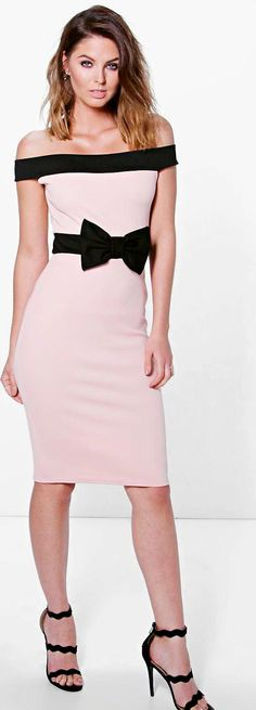 aba55e4e080f Pia Contrast Off The Shoulder Bow Waist Midi Dress by Boohoo. Get dance  floor-ready in an entrance-making evening dressLook knock-out on nights out  in ...