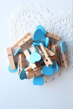 Mini Prendedores Coração Azul  #minipegs #heart #blue