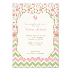 Polka Dot and Chevron Girl Baby Shower Invite w/feet
