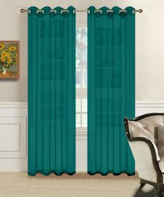 Warm Home Designs 1 Pair of Teal Blue Sheer Window Curtains with Grommet Top