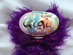 Sirdar GiGi Fashion Shade 050 Parisian Purple  (Rich Purple Yarn with Orange, Green & Pink Speckles) by Knitting Fever Inc. Textured Eyelash by dcoyshouseofyarn on Etsy