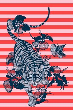 Matthew Williamson Hibiscus Tiger Print T-shirt. The final print, created in collaboration with Matthew and Samuel Winterbourn.