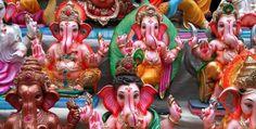 Artisans embellishing Ganpathy idols in their last moments