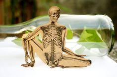Skeleton - Articulated Paper Doll based on the vintage anatomic illustration. Kraft paper, hand painted - dubrovskaya