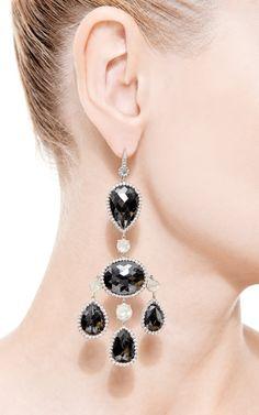 18K White Gold and Black Diamond Chandelier Earrings by Nina Runsdorf - Moda Operandi