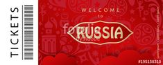 2018 World Cup RUSSIA FOOTBALL ticket concept. Welcome to Russia - text, Soccer world competition invitation, world cup banner, ticket concept modern design, with sports, football symbols, soccer ball, russian folk art elements red pattern vector illustration.