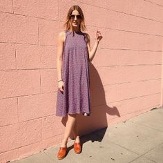 Kali in San Francisco wears the Printed Rayon Tent Dress. #AmericanApparel