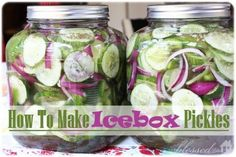 Icebox Pickles  6 cups sliced, unpeeled cucumbers 1 cup sliced red onion 1 cup sliced green bell pepper 1 Tablespoon celery seed 1 Tablespoon salt 2 cups white sugar 1 cup white vinegar  Combine all ingredients in a glass jar or crock. Cover with water, refrigerate.Let sit for a few weeks. They will keep up to 3 months in the fridge.