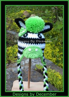 Lime Green Crocheted Zebra Hat 0 to 3 Months Boy or Girl by DesignsbyDecember, $18.00