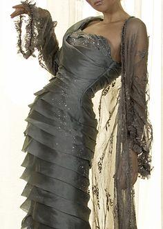 Pewter silk organza hourglass evening dress by Joanne Fleming Design