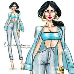 Elisketches - Disney Princess goes casual Jasmine Disney Princess Fashion, Disney Inspired Fashion, Disney Style, Disney Art, Pocahontas Disney, Disney Fashion, Princess Jasmine, Princess Style, Disney Jasmine