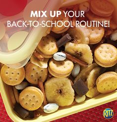 Looking for a quick and easy snack for the kids at the holiday party? They'll love this RITZ Bits Snack Mix. Simply mix RITZ Bits, dried banana chips, chocolate chunks, yogurt-covered raisins, and pretzel sticks. Even the adults will want to try it! No Bake Snacks, Easy Snacks, Yummy Snacks, Snack Recipes, Snacks Ideas, Yummy Food, Ritz Recipe, Ritz Bits, Dried Banana Chips