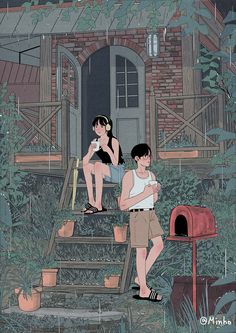 This Korean Artist Giving Serious Through His Illustration Drawing Cute Couple Drawings, Cute Couple Art, Couple Pictures, Couple Illustration, Digital Illustration, Korean Illustration, Pretty Art, Cute Art, Anime Couples