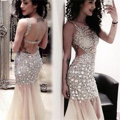 Sparkly Rhinestone Tulle Mermaid Long Prom Dresses , PD0102 – SposaDesses