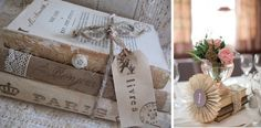 Vintage Wedding decorating with vintage books