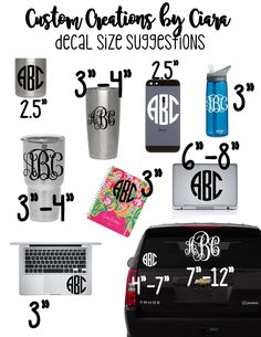 Monogram Decals are the perfect way to spice up any hard flat surface! Decals are perfect for laptops, car windows, phones, Yeti Tumblers and other drinkware (handwash only), and pretty much anything else you can think of! If properly cared for decals can last 6+ years! To see all the color choices and personalization aspects we offer scroll through the listing photos! *TO ORDER* In the note to seller please include 1. Monogram *IN THE ORDER YOU WANT IT TO READ* 2. Font 3. Font Color 4…
