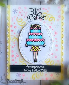 Big Wishes Cake Card By Maria Russell