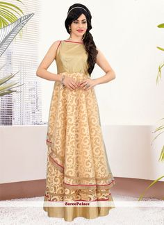 Princely Patch Border Work Art Silk Beige Readymade Gown