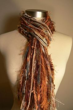 Fringe Scarves Knotted Scarf - Southwestern Flair - Copper, Rust, Sea Blue, Brown