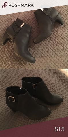 """Black buckle ankle boots Great condition, worn only a couple times. Side zip for easy on and off. Heel height approx 2 - 2.5"""" Sam & Libby Shoes Ankle Boots & Booties"""